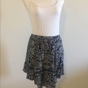 Angie navy and white print skirt
